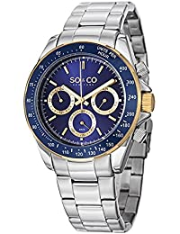 So   Co New York Monticello Men s Quartz Watch with Blue Dial Analogue  Display and Silver 070b031192