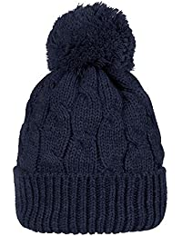 3d367cd8af8 WITHMOONS Knitted Twisted Cable Bobble Pom Beanie Hat Slouchy AC5474