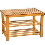 TecTake Schuhregal aus Bambus Holz - diverse Modelle - (70x28x45.5cm mit Sitzfläche | Nr. 401650)