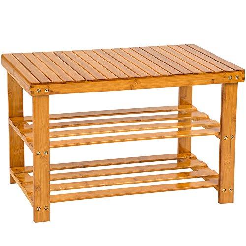 TecTake Étagère à chaussures en bois bambou avec banquette banc siège rangement chausser 70x28x45,5 cm