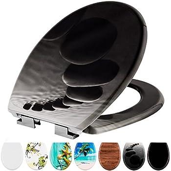 TecTake Abattant WC frein de chute soft close Siège de toilette Cuvette Siège lunette - diverses modèles - (pierres | no. 402260)