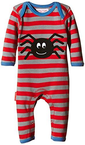 Toby Tiger Baby-Jungen 100% Organic Cotton super Soft Spider appliqué Sleepsuit. Spieler, Rot (Red), 80 (Herstellergröße: 6-12 Months) (Schlafanzug Herren Tiger Strampelanzug,)