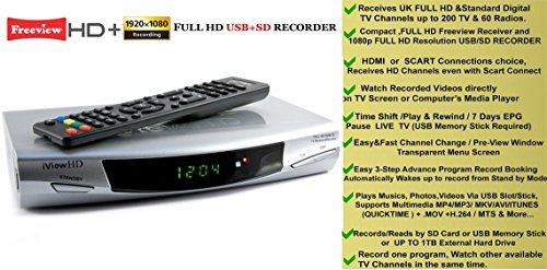 New FULL HD Freeview Set Top Box Receiver Digi Box Digital TV Tuner SD +  USB HD Recorder HDMI or SCART Connections (iView HD Silver) - Uk Appliances
