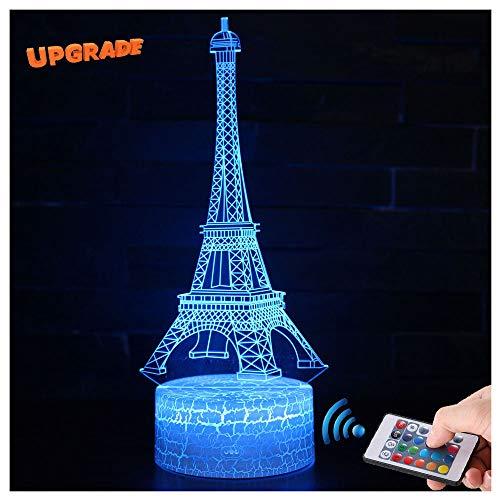 3D Eiffel Turm Lampe LED Nachtlicht mit Fernbedienung, USlinsky 7 Farben Wählbar Dimmbare Touch Schalter Nachtlampe Geburtstag Geschenk, Frohe Weihnachten Geschenke Für Mädchen Männer Frauen Kinder