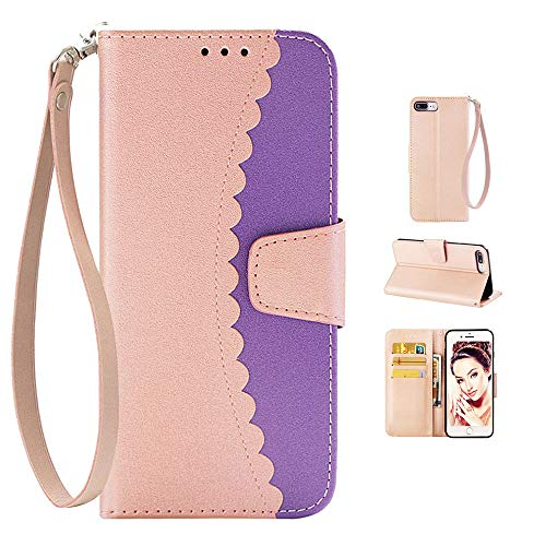 i7 Plus Cover, 04-Rose Gold & Purple Wallet
