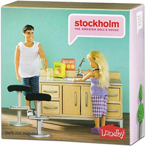 Stockholm Barset mit Tresen, Barhockern, Gläsern etc. - Puppenhaus Zubehör Puppen Küche Theke Möbel Zubehör