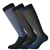 Fontana Calze, 6 paia di calze lunghe in caldo cotone elasticizzate confortevoli e rinforzate su punta e tallone fantasia a righe medie. Prodotto Italiano. 42/44