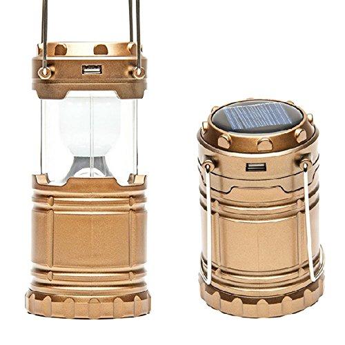 Sijueam Lampe de Camping Solaire LED Rechargeable Multifonction Pliante Lanterne d'exterieur portable avec Poignée pour Tente Randonnée Barbecue Pêche Urgences Coupure de Courant Ultra Brillant - Gold