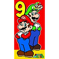 Mario Age 9 Birthday Card with Badge