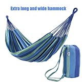 OnCloud Hamac Double Extra Long et Large pour Voyage Camping dans Le Jardin, Porche, extérieur ou intérieur, Pochette de Transport Incluse Bleu/Vert