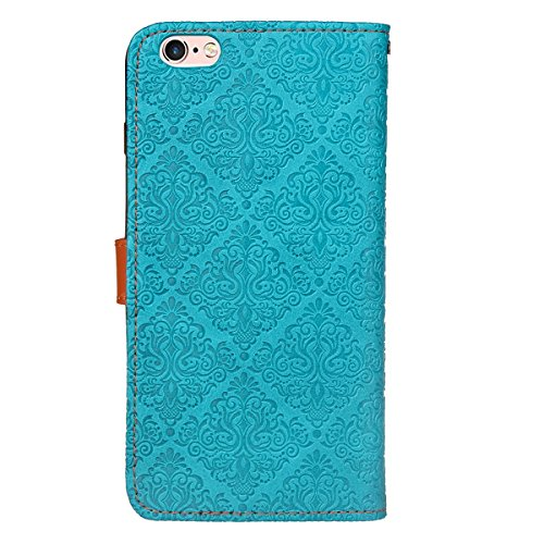 JAWSEU Coque Etui pour iPhone 6/6S 4.7,iPhone 6 Leather Case with Strap,iPhone 6S Etui en Cuir Folio Flip Wallet Cover Case,2017 Neuf Style Femme Homme Up and Down Unlock Holster Rabat Portefeuille ét bleu*