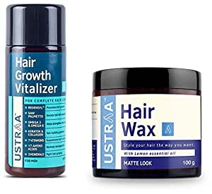 Ustraa Hair Growth Vitalizer - 100 ml and Ustraa by Happily Unmarried Hair Wax - 100 g …