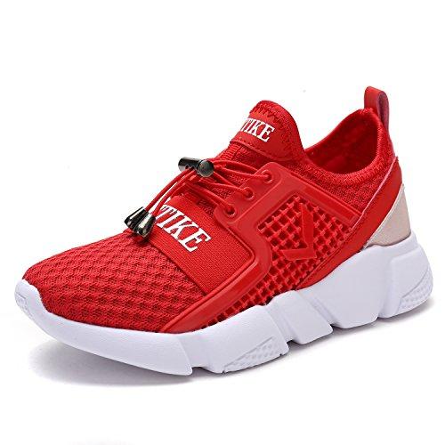 Jungen Mädchen Mesh Sneaker Outdoor Athletic Unterhose auf Beiläufig Laufen Schuhe (Kleinkind/Kleines Kind/Großes Kind-Rot-EU37)
