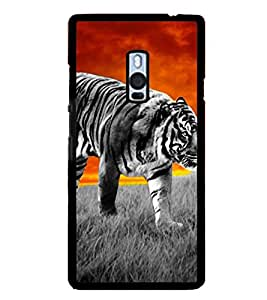 PrintVisa Black And White Tiger High Gloss Designer Back Case Cover for OnePlus 2 :: OnePlus Two