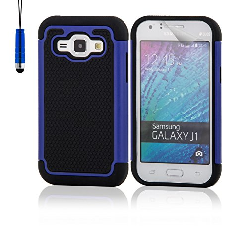32nd Stoßfeste silikon schutzschülle für Samsung Galaxy J1 (SM-J100), inklusive displayschutzfolie - Blau