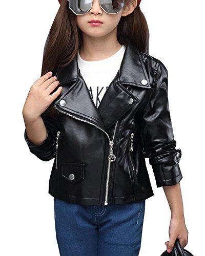 Kinder Mädchen Kunst Lederjacke Frühling Herbst Winter Punk Jacke Mantel  Outwear Schwarz 130cm 621d8e586c