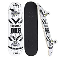 Bonvenon Skateboards 31 x 8 inch Complete Skateboard for Beginners/Adults/Teens, Skateboards with 8 Layer Maple Deck Double Kick Concave Design Standard Skateboards