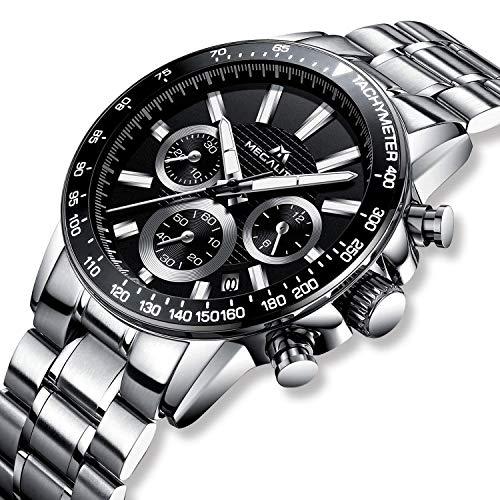 Relojes de Hombre Relojes de Pulsera Cronógrafo Deportivo Impermeable Lujo de Plata Acero Inoxidable Relojes Hombre Negocios Casuales Analogicos día Fecha Calendario