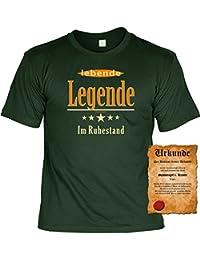 In Rente gehen Geschenk Idee zur Verabschiedung Lebende Legende im Ruhestand Für rüstige Rentner T-Shirt zum Geburtstag Geschenke Set mit Urkunde : )