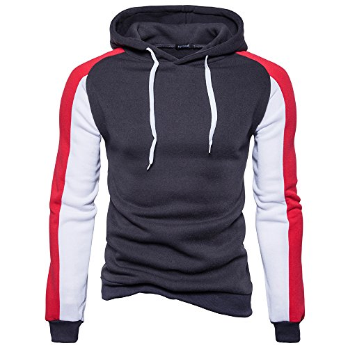 Dunkelgraue Sweatshirts (BaronHong Herren Langarm Stiching Farbe Fashion Fleece Sweatshirt Hoodie (dunkelgraue, XXL))