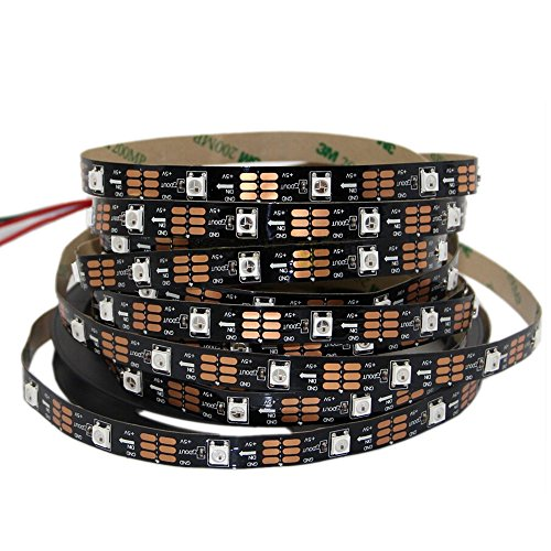 MENGCORE® 5m 16.4FT 150led WS2812B Full Color LED strip 150 LED 150 pixels Not waterproof Individually Addressable Dream Color led strip (PCB Black)