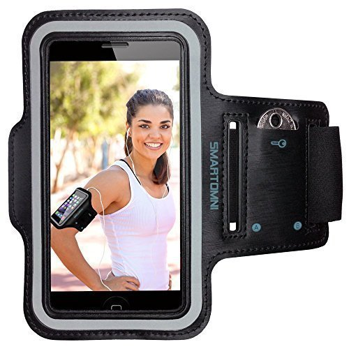 SmartOmni Sport Armband with Adjustable Length Band + Key Slots for iPhone 6S/6/5C/5S,iPod MP3 Player and Most Of 4.7