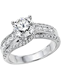 2.00 ctw Certified Diamond Solitaire Engagement Ring in 14k White Gold (H Color/SI Clarity)