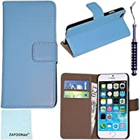 Zafoorah funda de piel para Apple iPhone 6 - 6th generación 4,7 + Protector de pantalla + gamuza de microfibra + lápiz capacitivo Genuine Leather Wallet Stand - LIGHT BLUE