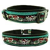 Eve Couture Hundehalsband Halsband Hund Skulls & Hearts Rockabilly Rock´n Roll verstellbar Totenkopf Skull smaragdgrün schwarz 30mm (XL (ca. 48-54cm))