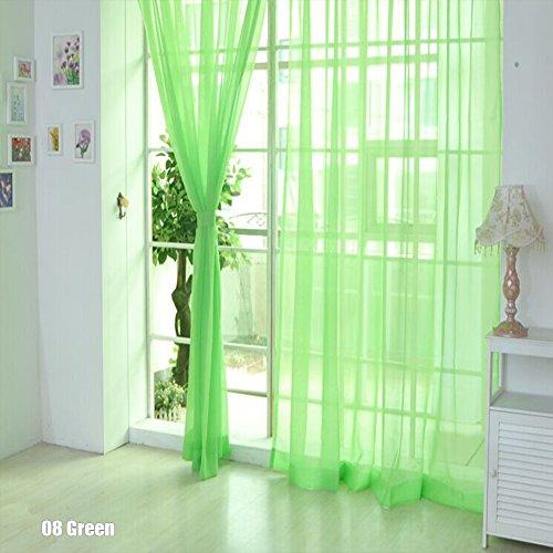 rungao Farbe Floral Voile Vorhang House Decor Tür Fenster Vorhang Panel Sheer Volants Schal, grün, Grün (Grün Sheer)