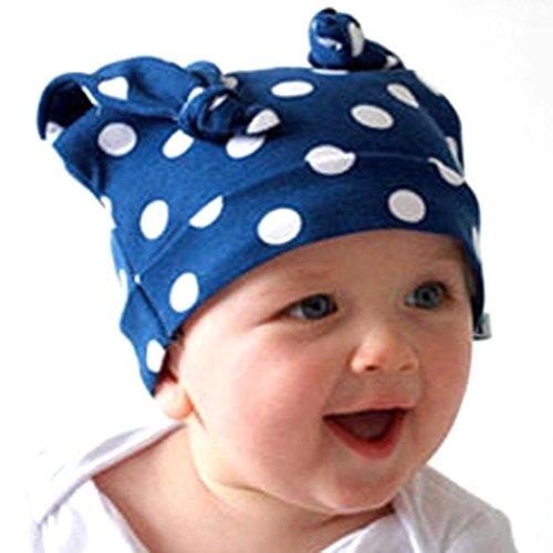 Generic Kleinkind lange Ohren Rollkragen Kappe Säugling Horn Strickmütze Beaniekappe (Blau)