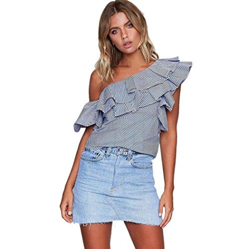 PINEsong Damen Frau Lose Eine Schulter Tops Bluse Hemd Sommer Beiläufig Gestreift T-Shirt (Dunkelblau, M) (Baumwolle Popeline-hemd Bio)