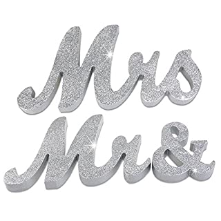 Allbusky Glitter Mr and Mrs Gift Wooden Sign Letters Wedding Decorations Vintage for Reception Ceremony Present (Mr & Mrs Silver)