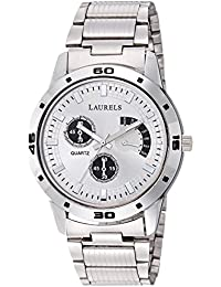 Laurels Matrix Silver Dial Artificial Chrono Analog Wrist Watch - For Men