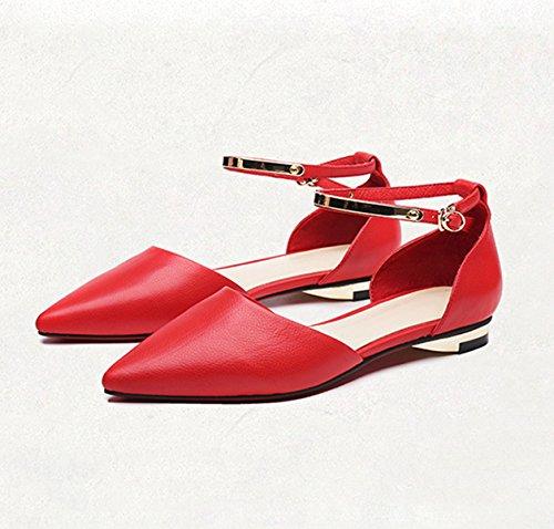 Damen Sandalen Geschlossen Spitz Zehen Flach Elegant Bequem Rutschhemmend Sommerlich Freizeit Straße Urlaub Schick Schuhe Rot