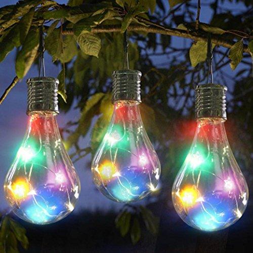 Solar Outdoor Lichterkette Clode® Wasserdichte Solar drehbare Outdoor Garten Camping Hanging LED Licht Lampe Birne (Multicolor)