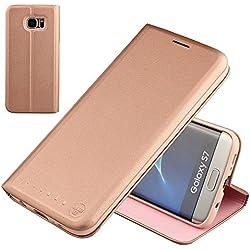 NOUSKE étui à Rabat Folio en Cuir pour Samsung Galaxy s7, Cover Coque TPU Porte Cartes avec Support Protection intégrale,Rose Or.