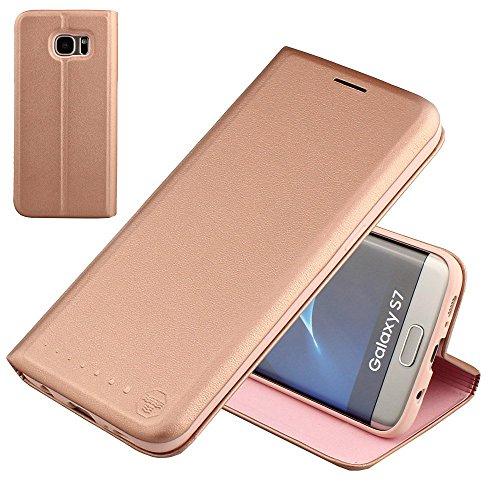 Nouske-Lederklapphlle-fr-Samsung-Galaxy-S7-S7-Edge-handgefertigt-geschwungene-Kanten-mit-Aufsteller-und-Kartenfach-TPU-Cover