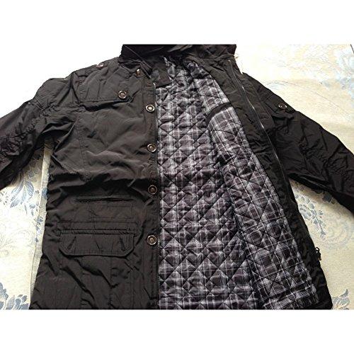 hibote Herren Trench Coat Winter Jacken Overcoat Outwear Schwarz-1046(Dick)