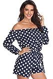 Ladies Playsuit Girls Bambina Salopette 3/4 Maniche Blu e Bianco Polka Dots Elegante Cravatta con Cintura - M