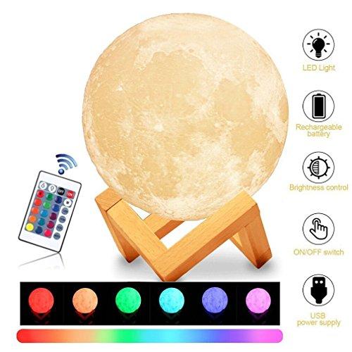Amouhom 15cm 3D Mond-Lampe mit Fernbedienung LED Nachtlicht Tischleuchte mit Dock, 16 Farbe Veränderung Dimmbare Helligkeits USB Wiederaufladbar Design für Kinderzimmer -