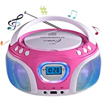 CD-Player mit LED-Beleuchtung | Tragbares Stereo Radio | Kinder Radio | Stereo Radio | Stereoanlage | USB | CD/MP3 Player | Radio | Kopfhöreranschluss | Aux in | LCD-Display | (Pink mit LED)