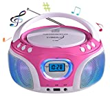 CD-Player mit LED-Beleuchtung | Tragbares Stereo Radio | Kinder Radio | Stereo Radio | Stereoanlage | USB | CD/MP3 Player | Radio | Kopfhöreranschluss | Aux in | LCD-Display | (Pink)