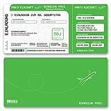 (20 x) Einladungskarten Geburtstag Flugticket Ticket Karte Einladungen in Grün