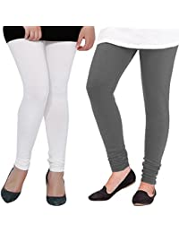ROOLIUMS ® (Brand Factory Outlet) Women's Woolen Lycra Leggings Combo Pack Of 2 For Winter (White And Dark Grey)