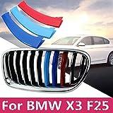 3 piezas 3D para rejilla delantera de coche, decoración con hebilla para BMW X3 F25
