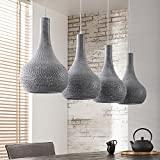 Deckenlampe Esstischlampe Metall beton grau 4-flammig kegelförmig gelocht