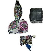 Bolso de paseo perro MANDALA. Con bebedero comedero plegable y cartera porta-bolsas personalizada con el nombre de tu perro. PONER NOMBRE EN OPCIONES