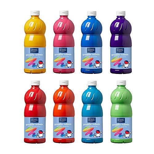 Lefranc & Bourgeois 188500 flüssig Tempera Redimix Kinderfarbe, gebrauchsfertige Tempera - Gouachefarbe, 8 Farben Set a 1000ml Flaschen - frische Farben