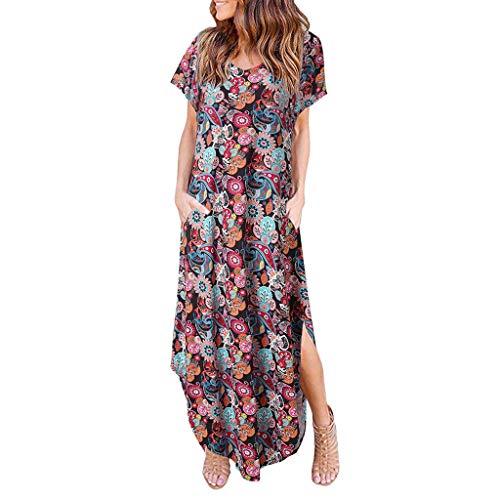 beiläufige Kurze Hülsen-Druck-Taschen-knöchellanges Party-Kleid-Sommerkleid ()